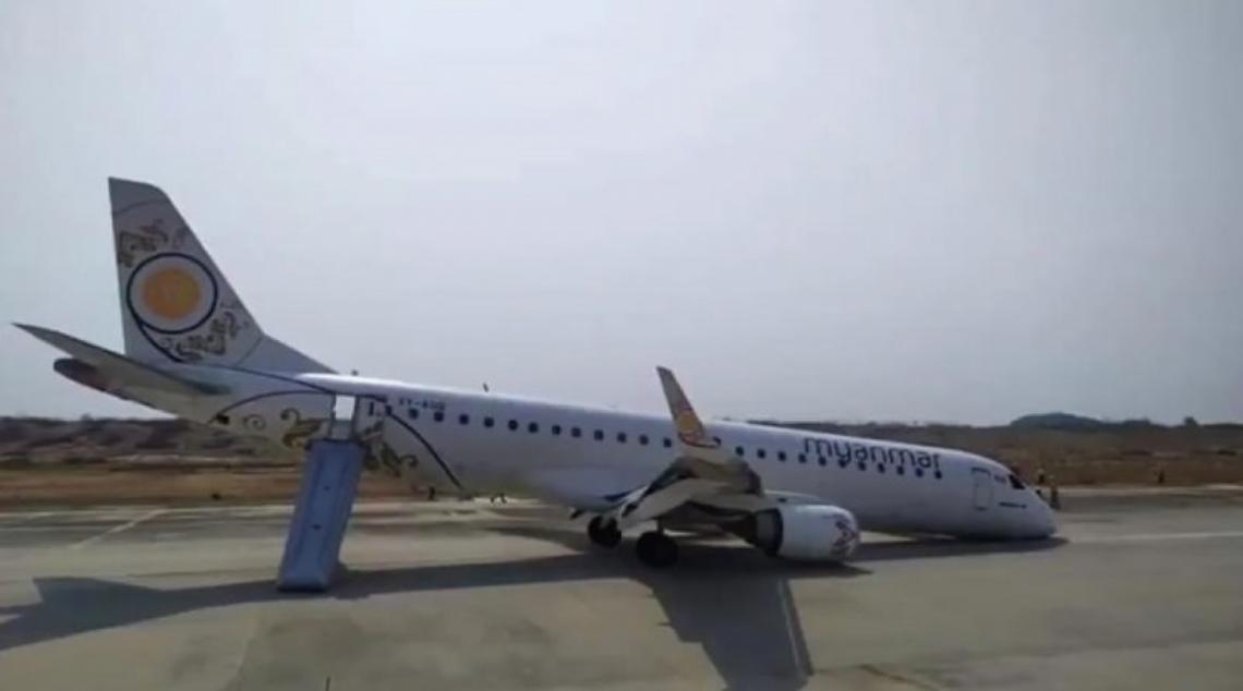Avión de pasajeros aterriza de panza en Myanmar