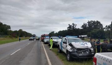 Imagen de Ruta 2: tres patrulleros protagonizaron un choque en cadena