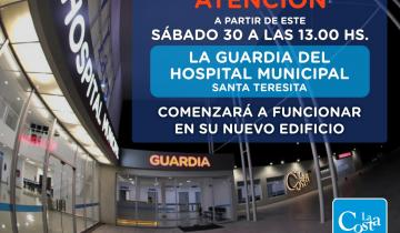 Imagen de Comienza a funcionar la guardia del nuevo Hospital Municipal de Santa Teresita