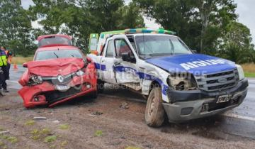 Imagen de Un patrullero y un auto protagonizaron un accidente en la Ruta 3
