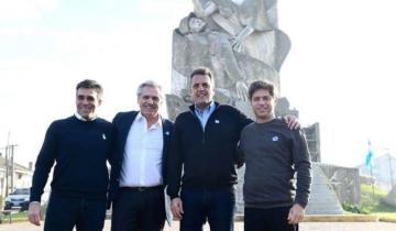 Imagen de La primera foto de Fernández, Massa y Kicillof en el comienzo de la campaña