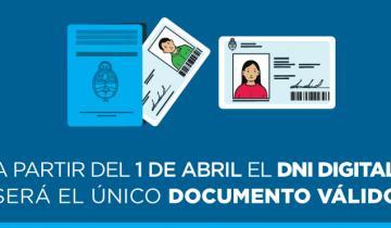 Imagen de A partir del 1 de abril el DNI digital será el único documento válido en el país
