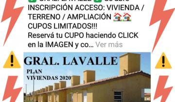 Imagen de General Lavalle: el Municipio alerta sobre publicidades engañosas para Planes Sociales de Viviendas