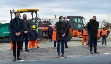 """Imagen de Cardozo en la reanudación de las obras de la ruta 11: """"Esto nos permite soñar en grande"""""""