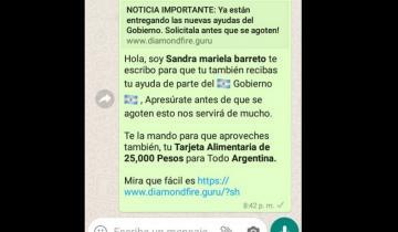 Imagen de Alerta por estafa en WhatsApp: prometen una Tarjeta Alimentaria de 25.000 pesos
