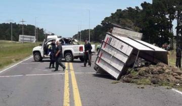 Imagen de Volcó una camioneta con acoplado en la Ruta 11