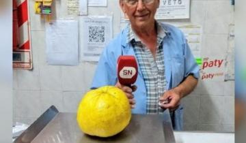 Imagen de Chascomús: un vecino cosechó un limón... ¡del tamaño de un melón!