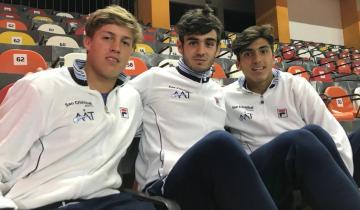 Imagen de Santiago De la Fuente, en el podio de la Junior Davis Cup