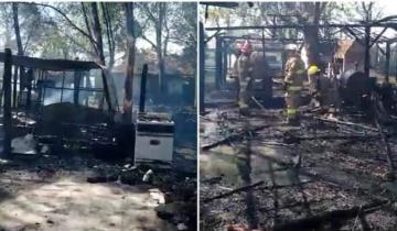 Imagen de Voraz incendio destruyó varias propiedades en un camping en Chascomús