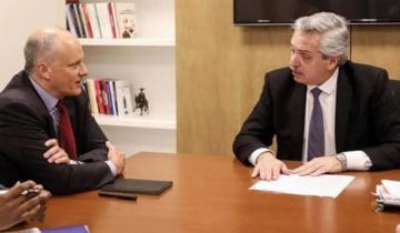Imagen de Alberto Fernández con el FMI: culpó al acuerdo y al Gobierno por la crisis