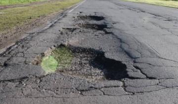 Imagen de Por los baches una persona se accidentó en la Ruta 74