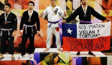 Imagen de Un dolorense es campeón nacional de jiu-jitsu y su foto se viralizó por la protesta de un competidor chileno