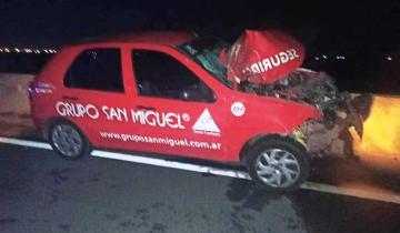 Imagen de Ruta 2: fuerte accidente entre un auto de una empresa de seguridad privada y un patrullero
