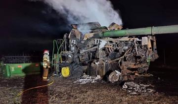 Imagen de General Madariaga: se incendió una cosechadora en un establecimiento rural