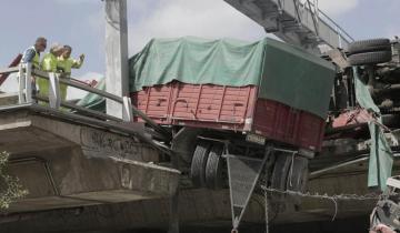Imagen de Cayó un camión de la Autopista 25 de Mayo en Capital Federal y un chofer quedó atrapado